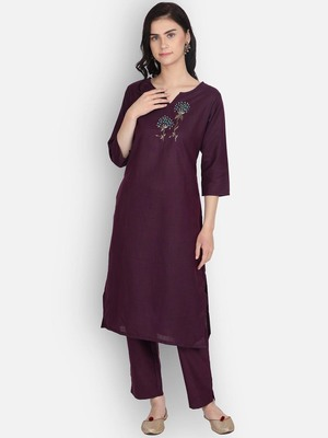 Maroon cotton embroidered kurti with pant