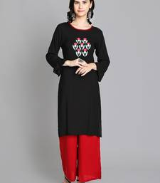 Black rayon embroidered kurti with plazzo
