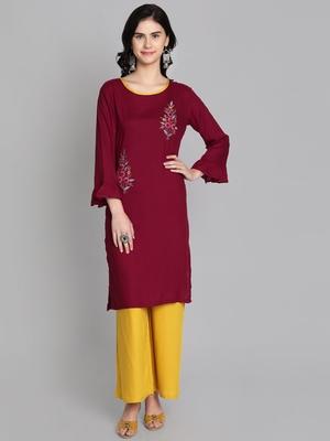 Maroon rayon embroidered kurti with plazzo