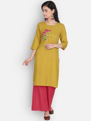 Golden rayon embroidered kurti with plazzo