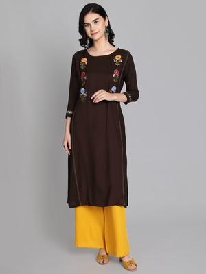 Brown rayon embroidered kurti with plazzo