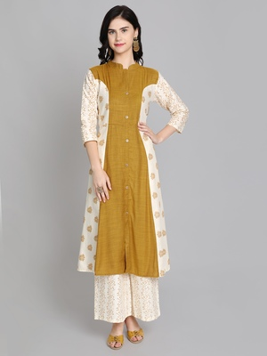 Golden rayon printed kurti with plazzo