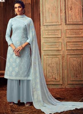 Grey Designer Cotton Salwar Kameez