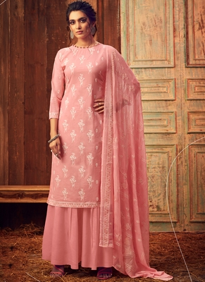 Baby Pink Designer Cotton Salwar Kameez