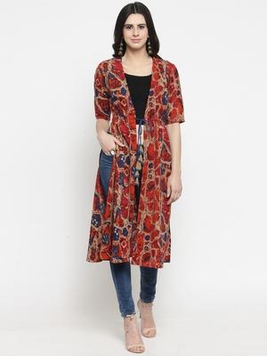 Multicolor printed viscose rayon long-dresses