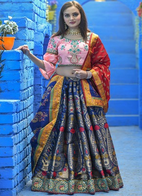 Navy-blue woven silk semi stitched lehenga