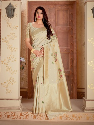 White woven banarasi silk saree with blouse
