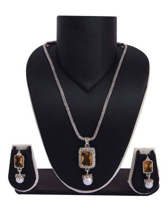 Sukkhi Sleek Rodium plated  Pendant Set 1006V