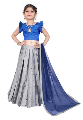 Kids Royal Blue Blouse And Silver Lehenga Choli
