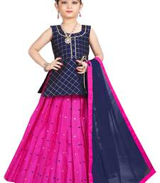 Kids Birthday Wear Blue Top And Rani Pink Lehenga Choli
