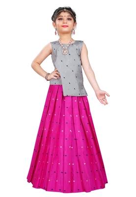 Kids Wedding Wear Silver Top And Rani Pink Lehenga Choli