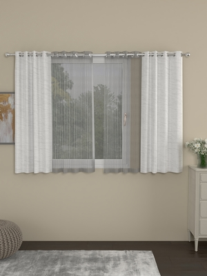ROSARA HOME Mateo Striped Pack of 4 Window Curtains