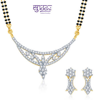 Sukkhi Traditional Marriage Gold and Rhodium plated CZ Mangal Sutra Set