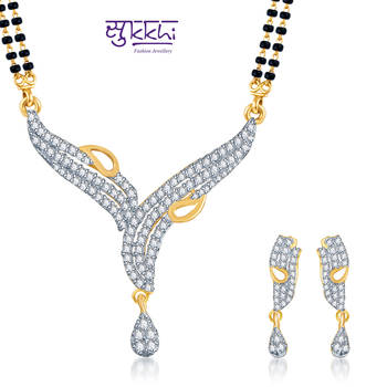 Sukkhi Classic Traditional Gold and Rhodium plated CZ Mangal Sutra Set