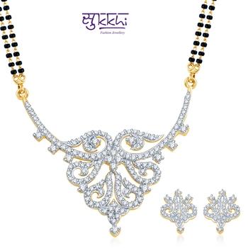 Sukkhi Dazzling and Glamorous Gold and Rhodium plated CZ Mangal Sutra Set