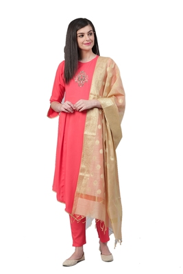 Coral & Beige Rayon Solid Kurta,Pant With Dupatta