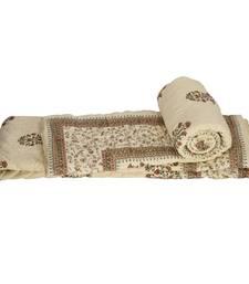 Buy White Base Block Printed Cotton Double Quilts jaipuri-razai online