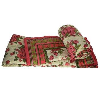 Pink Floral Print Jaipuri Cotton Double Quilt