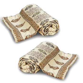 Jaipuri Booti Printed Cotton Double Bed Quilt