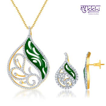 Sukkhi Meenakari  CZ Gold  and Rodium plated Pendant Set