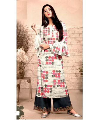 Cream Rayon block print embroidered kurta set