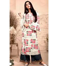 Cream Rayon block print embroidered kurta set