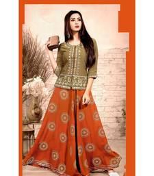 Gold Rayon block print embroidered kurta set