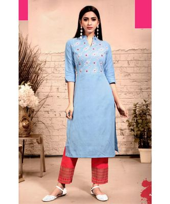 Blue Rayon block print embroidered kurta set