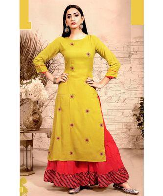 Yellow Rayon block print embroidered kurta set