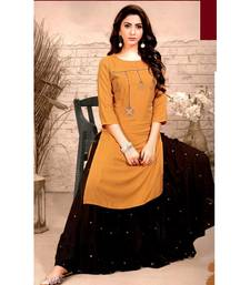 Orange Rayon block print embroidered kurta set