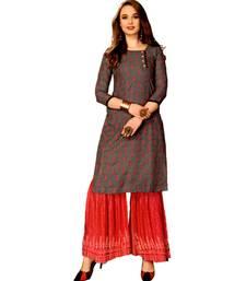 Grey Rayon block print embroidered kurta set