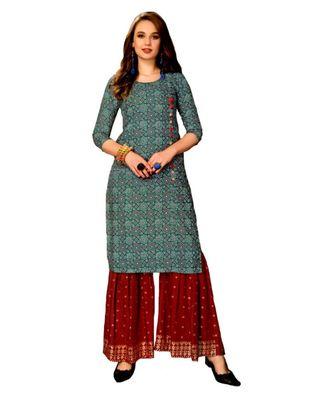 Blue Rayon block print embroidered kurta set