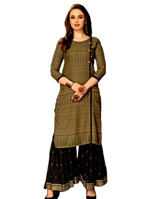 Gold Rayon block print embroidered kurta set