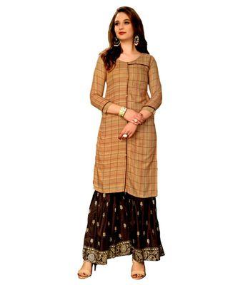 Brown Rayon block print embroidered kurta set