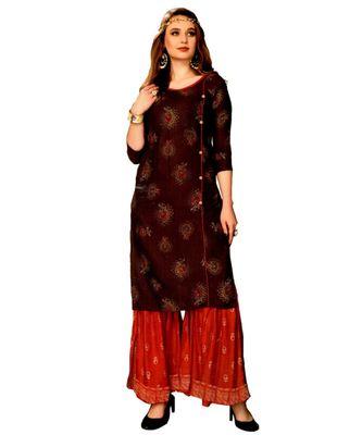 Maroon Rayon block print embroidered kurta set