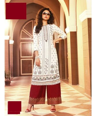 White Rayon block print embroidered kurta set