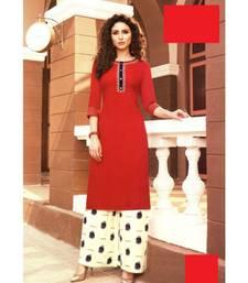 Red Rayon block print embroidered kurta set