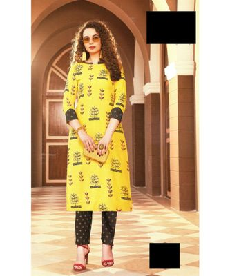 Yellow Rayon block print embroidered kurta set