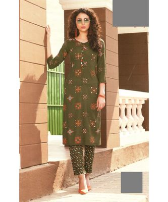 Green Rayon block print embroidered kurta set