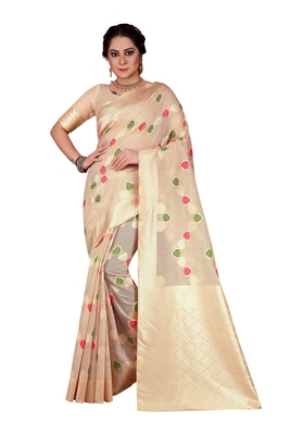 Beige Woven Chanderi Silk Designer Saree With Unstitched Blouse