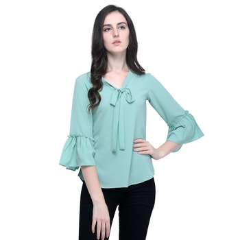 Women Turquoise Tie-up Neck Top with Ruffle Bell Sleeve