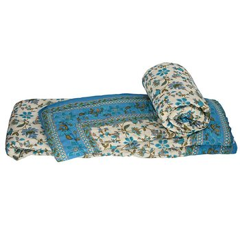 Hand Block Gold Print Cotton Single Bed Quilt