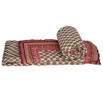 Jaipuri Golden Print Cotton Single Bed Quilt