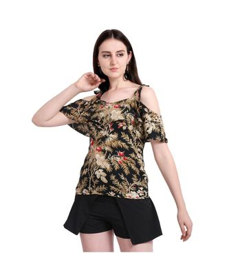 Women Cold Shoulder Ruffle Party Top