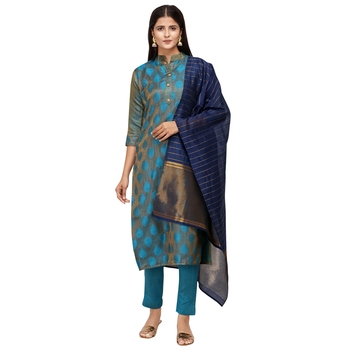 Blue woven cotton salwar