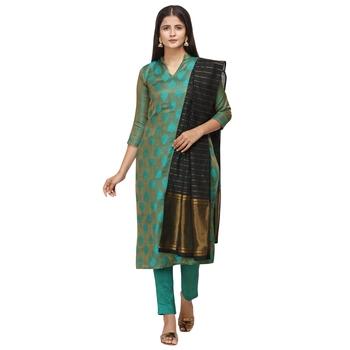 Turquoise woven cotton salwar