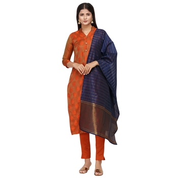 Orange woven cotton salwar
