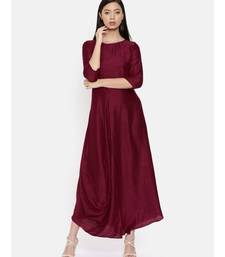 mayank modi Wine coloured cowl hem maxi dress
