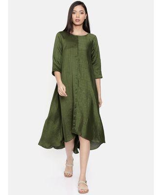 mayank modi Rust green midi dress with potli buttons