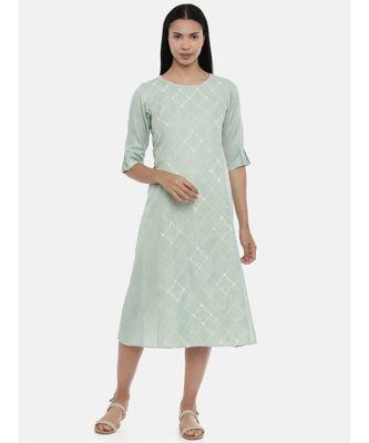 mayank modi Green,Linen Satin panel cut dress